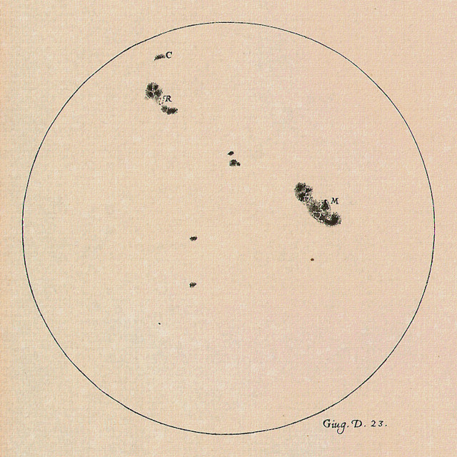 A drawing of the Sun made by Galileo Galilei on 23 June 1613 showing the positions and sizes of a number of sunspots. Galileo was one of the first to observe and document sunspots. (The Galileo Project/M. Kornmesser)