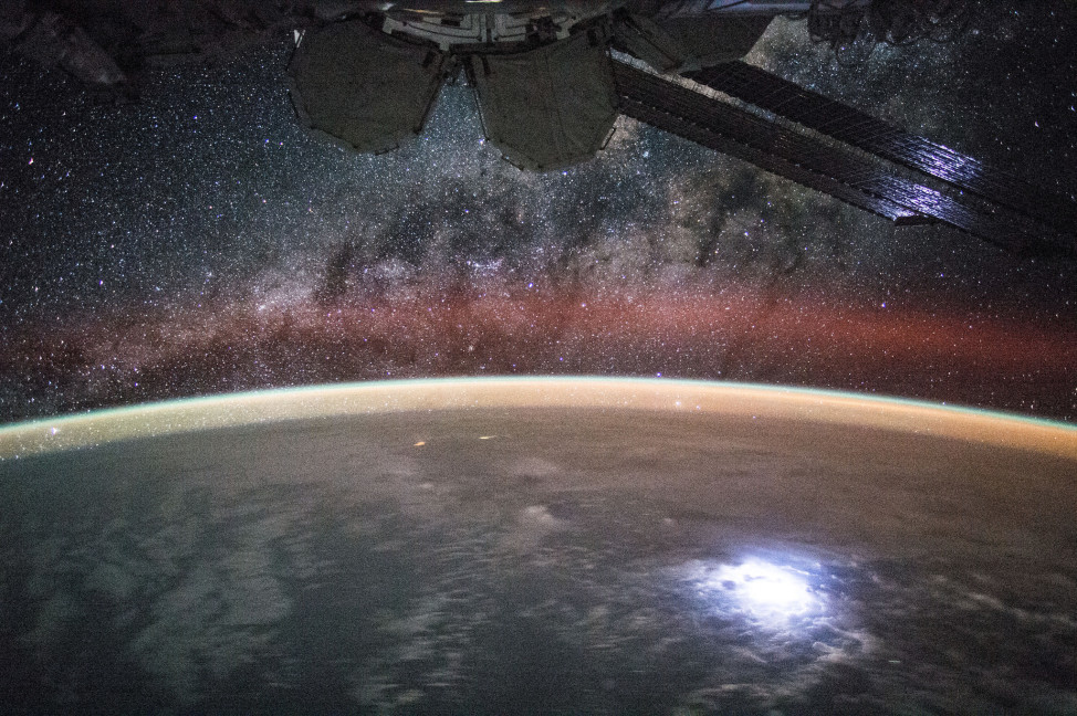 With the Milky Way in the background, ISS crewmember Kjell Lingren grabbed this photo from space of a lightning strike on Earth that is so bright that it lights up the space station's solar panels.  Lingren posted this photo on Twitter and Instagram on 9/2/15. (NASA)