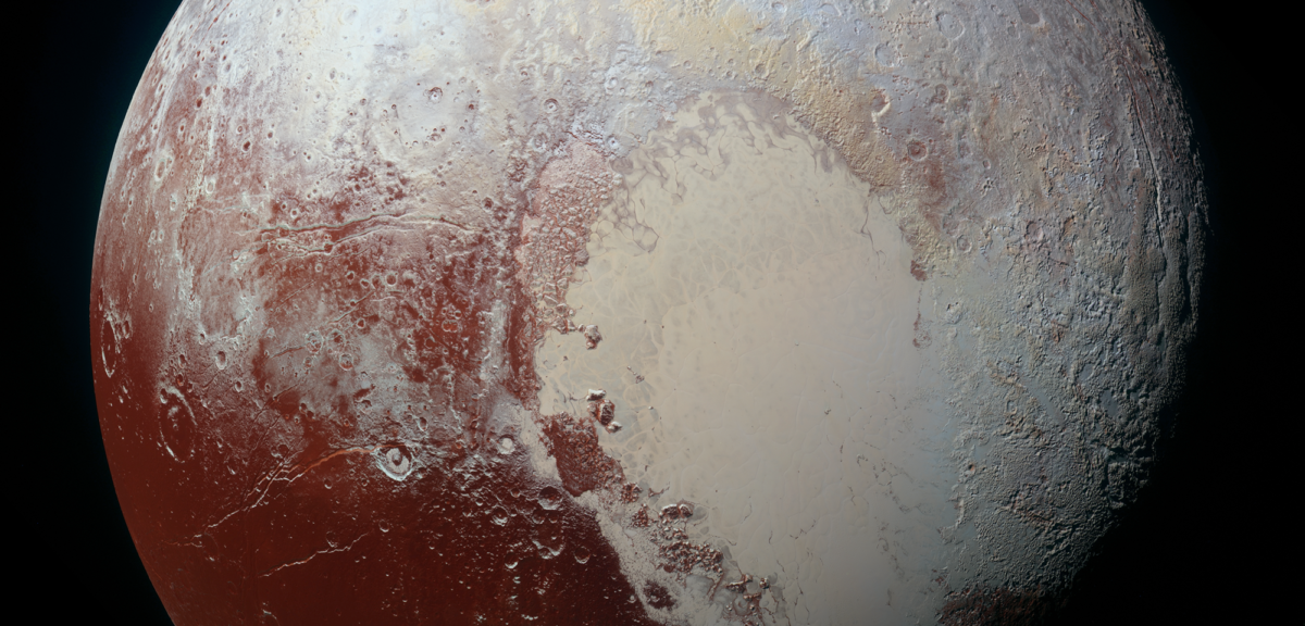 NASA released this high-resolution enhanced color view of Pluto on 9/25/15. The image combines blue, red and infrared images taken by the Ralph/Multispectral Visual Imaging Camera (MVIC) on 7/14/15. (NASA/JHUAPL/SwRI)