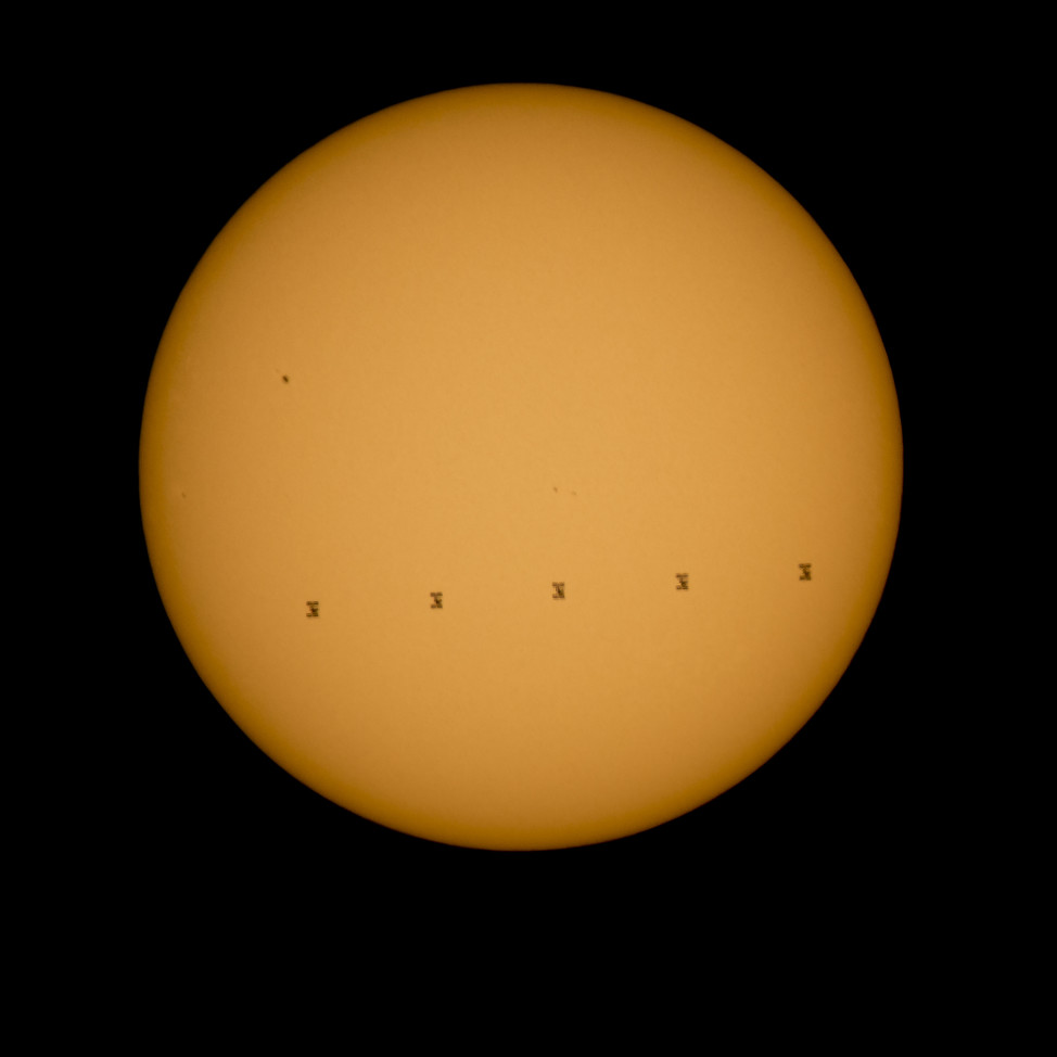 This five frame composite silhouette of the International Space Station as it glides in front of the Sun was taken on 9/6/15 from Shenandoah National Park, Front Royal Virginia.  As it passed the sun the ISS was traveling at a speed of about 8 kilometers per second. (NASA/Bill Ingalls)