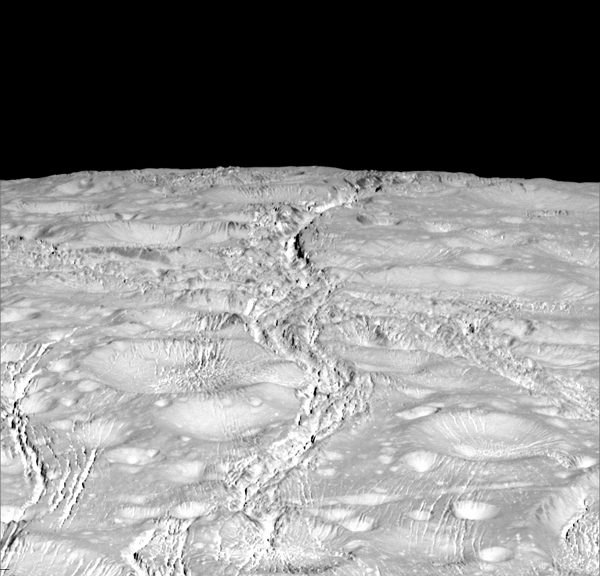 NASA's Cassini spacecraft zoomed by Saturn's icy moon Enceladus on Oct. 14, 2015, capturing this stunning image of the moon's north pole. (NASA/JPL-Caltech/Space Science Institute)