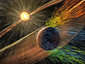Artist's rendering of a solar storm hitting Mars and stripping ions from the planet's upper atmosphere. (NASA/GSFC)