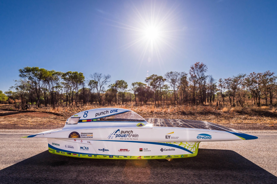 This is Belgium's Punch Powertrain Solar Team car at the 2015 World Solar Challenge held near Dunmarra, Australia on 10/19/15.  The 3,000 km race from Darwin to Adelaide, Australia featured 45 solar cars from 25 countries. (AP)
