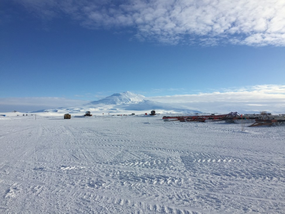 A view of Mt. Erebus from the McMurdo Skiway (airstrip), on the Ross Ice Shelf. (Photo by Refael Klein)