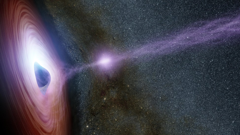 New observations from NASA's Swift and the Nuclear Spectroscopic Telescope Array, or NuSTAR caught a supermassive black hole in the midst of a giant eruption of X-ray light.  In this artist's image, released on 10/27/15, an x-ray flare can be see blasting from the corona of the supermassive black hole Mrk 335. (NASA/JPL-Caltech)