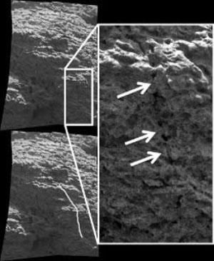 "This Microscopic Image Mosaic shows a pre-existing crack which is being ""healed over"", which is evidence for the gel weathering alteration process. (NASA/JPL & S. Cole)"