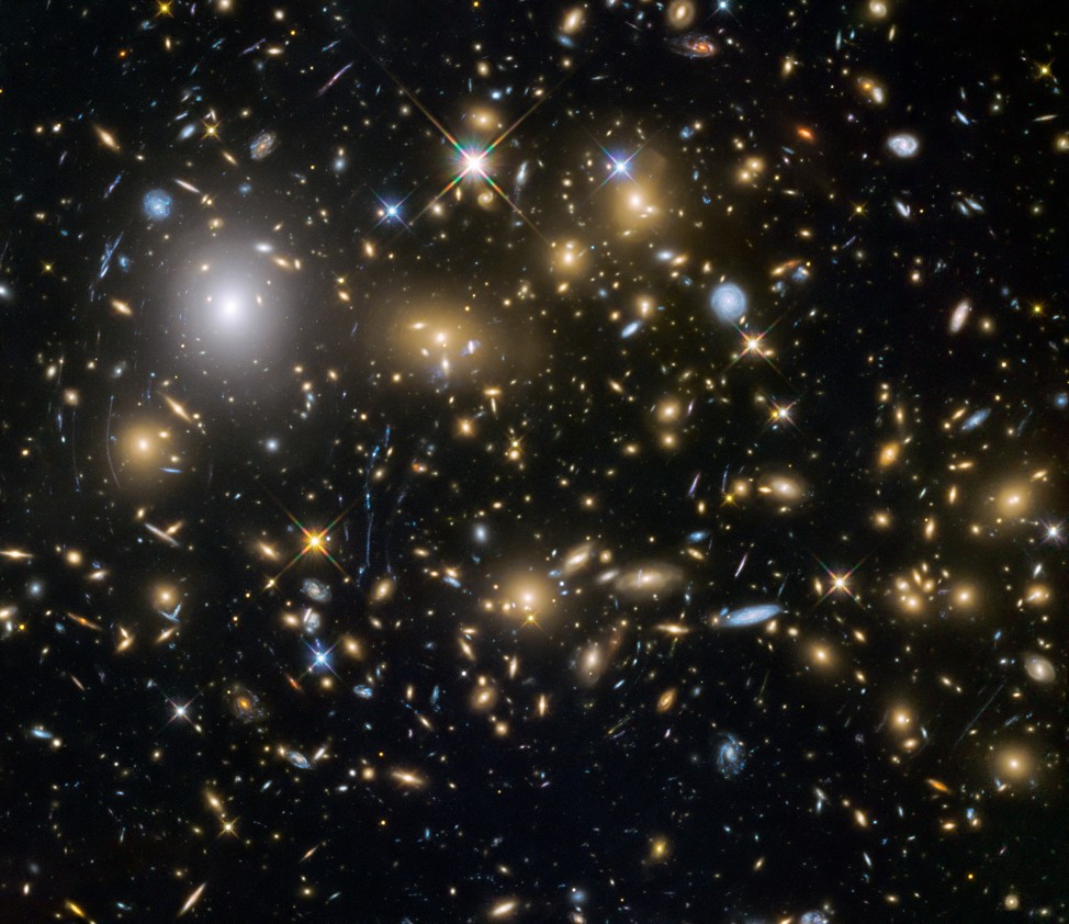 The Hubble Space Telescope recently gathered the largest sample of the faintest and earliest known galaxies in the universe. Some of these galaxies formed just 600 million years after the Big Bang. This is an image of the galaxy cluster MACS J0416.1–2403 that was released on 10/22/15. (ESA/NASA)