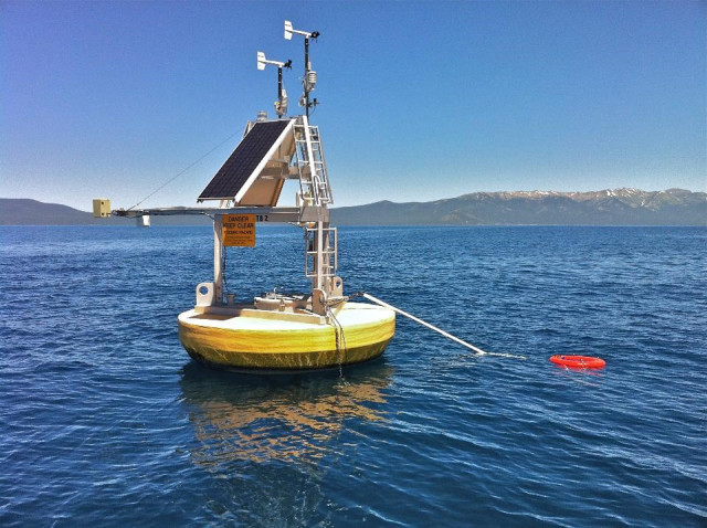 A combination of satellite data and ground measurements, such as from instrumented buoys like this one in Lake Tahoe on the California/Nevada border, were used to provide a comprehensive view of changing lake temperatures worldwide. The buoy measures the water temperature from above and below. (Limnotech)