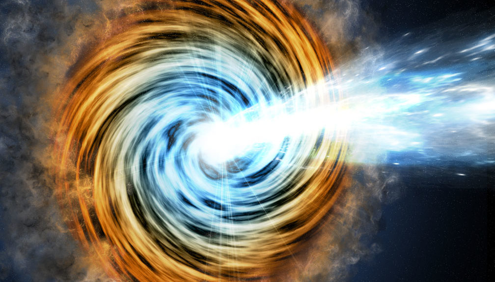 This artist's conception shows a blazar – the core of an active galaxy powered by a supermassive black hole. (M. Weiss/CfA)