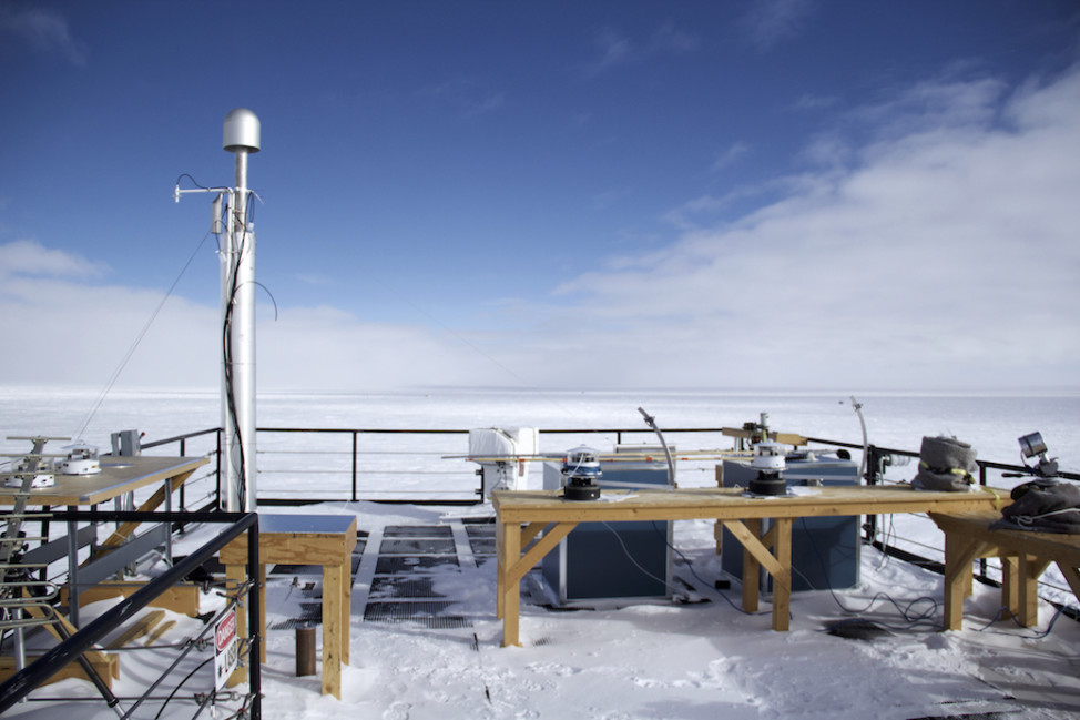 ARO's rooftop is home to NOAA's suite of solar radiation equipment. (Photo by Hunter Davis)