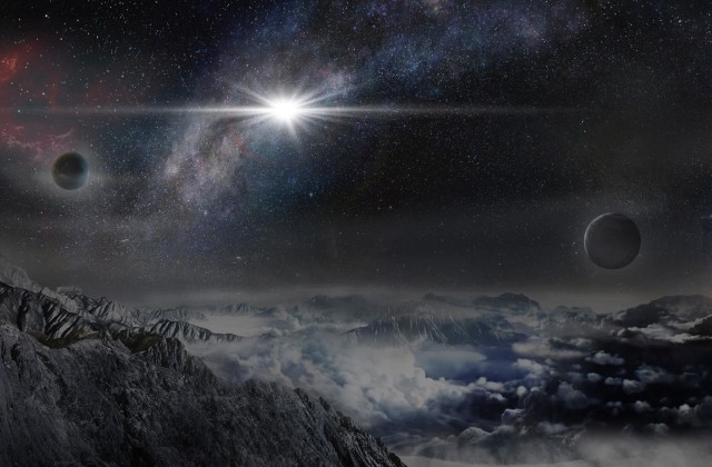 This is an artist's impression of the record-breakingly powerful, superluminous supernova ASASSN-15lh as it would appear from an exoplanet located about 10,000 light years away in the host galaxy of the supernova. (Beijing Planetarium/Jin Ma)