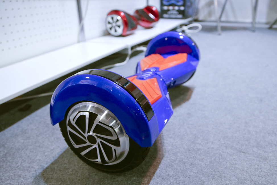 With hoverboards all the rage lately, Egmemory showed off its latest lineup of hoverboards at the Consumer Electronics Show in Las Vegas, 1/7/16.  (AP)