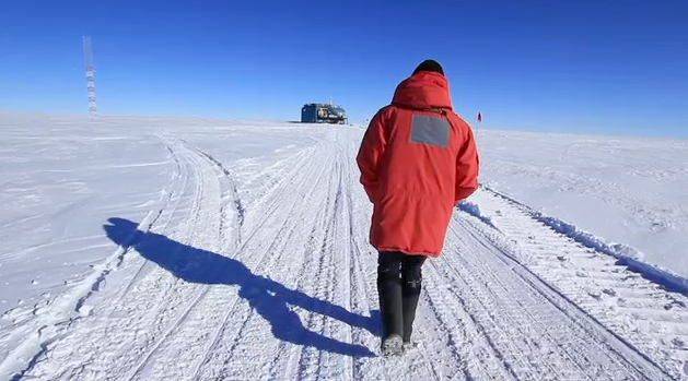NOAA's Refael Klein walks to work at the South Pole. (Photo by Hunter Thomas)