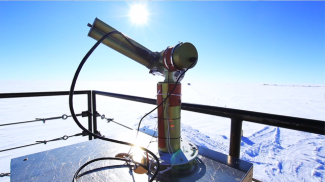 The sun photometer at the South Pole is part of NASA's Aerosol Robotic Network, and is just one of hundreds located around the world. (Photo by Hunter Davis)