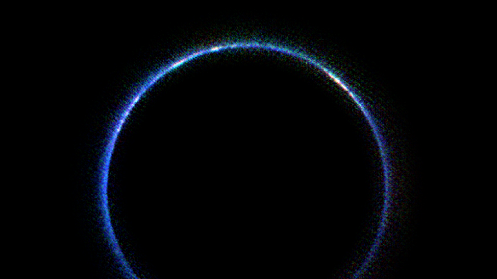 NASA released this image of Pluto's atmosphere in infrared wavelengths on 1/21/16. The image was created from data gathered on 7/14/15 by the New Horizons Ralph/Linear Etalon Imaging Spectral Array (LEISA) instrument. (NASA/JHUAPL/SwRI)