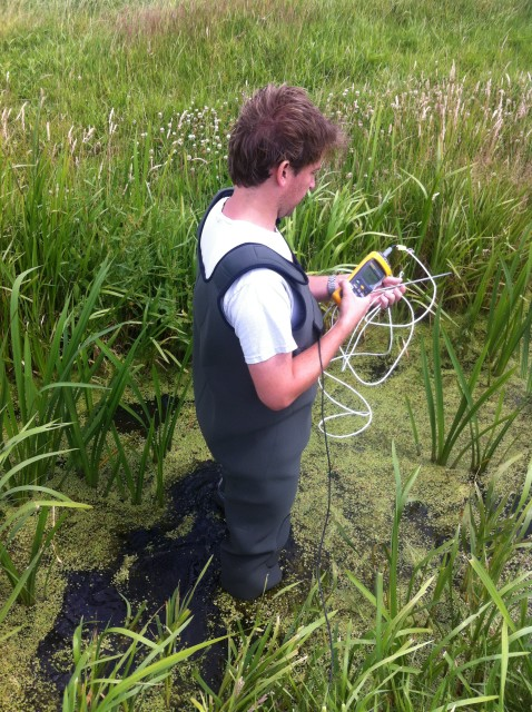 Researcher Rolf Hut testing the temperature-sensing waders in the field. (Tim van Emmerik)