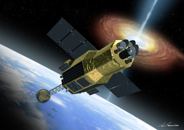 Artist conception of the Hitomi, formerly ASTRO-H, spacecraft (Akihiro Ikeshita/JAXA via NASA Blueshift/Flickr)