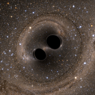Artist rendition of two tightly orbiting black holes that are about to merge (SXS)