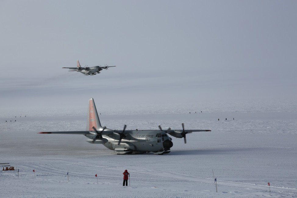"A rare sight: two LC-130s at South Pole Station: the plane I ""boomeranged"" on, and the plane that finally got me to McMurdo."
