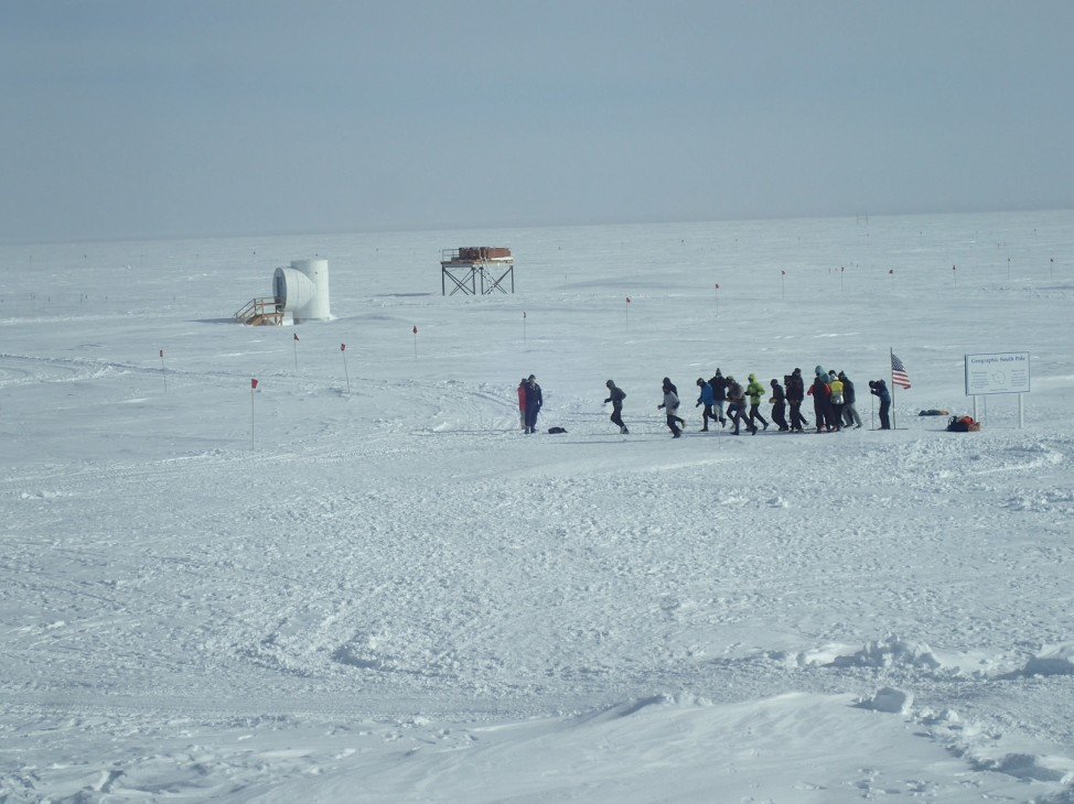The start of the 2016 South Pole Marathon. Six out of the 11 people who competed in the full 26.2 mile course, finished the run.