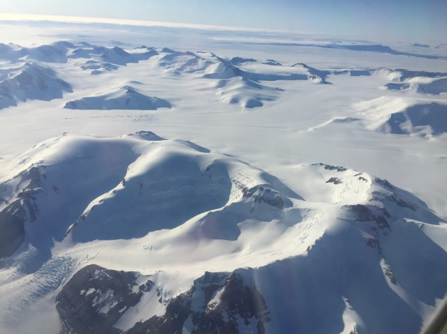 We had clear weather and good visibility during our flight back to McMurdo.  This is one of the many mountains we passed on our way. (Photo by Refael Klein)
