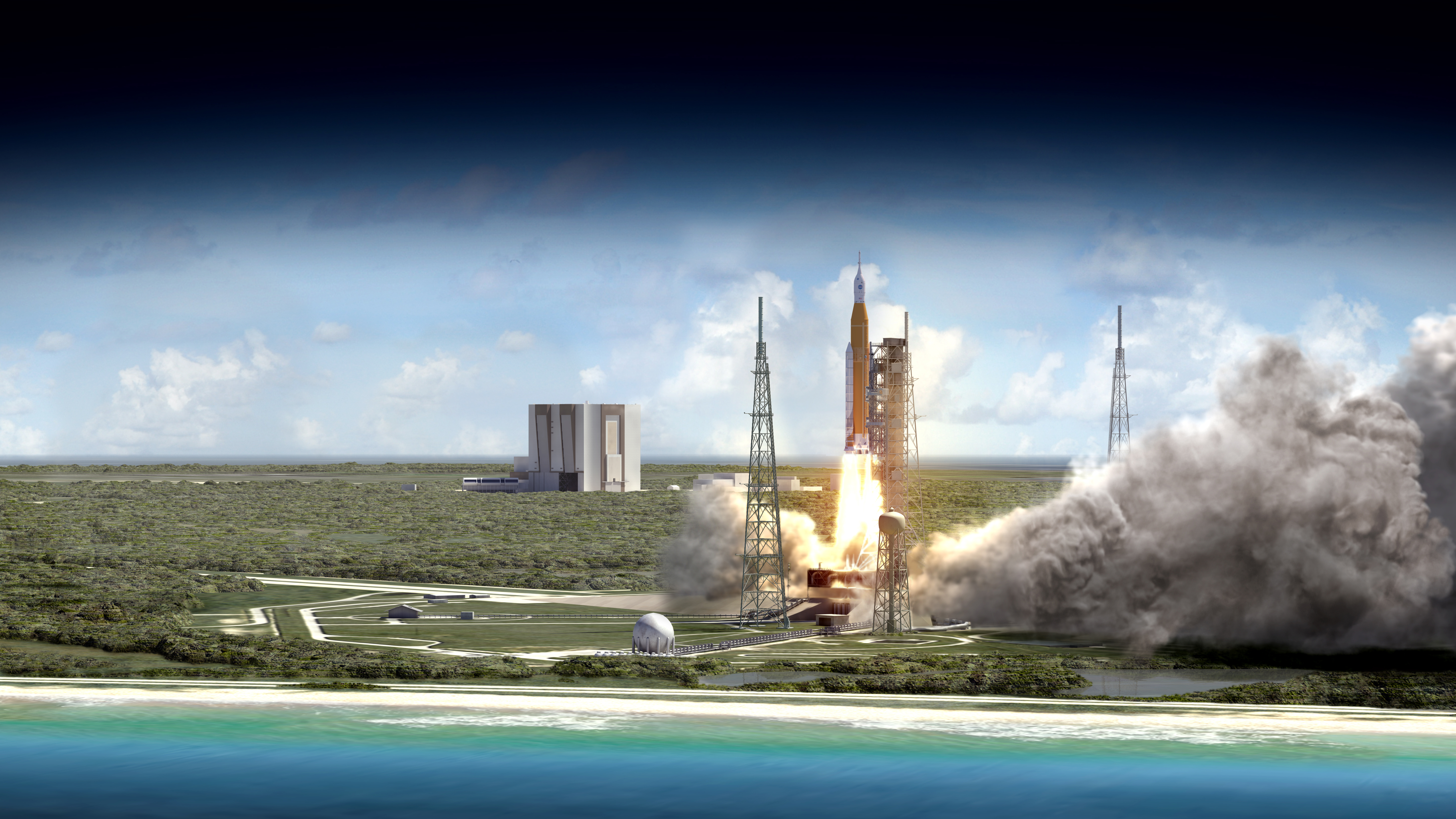 NASA uses water blast to test Space Launch System advise