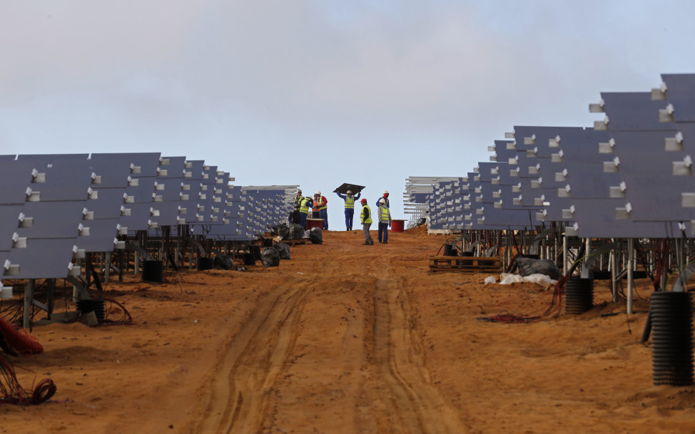 Here's another shot of a new solar panel array.  This one is being constructed at a photovoltaic solar park on the outskirts of the coastal town of Lamberts Bay, South Africa, Tuesday, March 29, 2016.  The solar power plant, which is expected to produce up to 75 Megawatts, will be connected to the South African electric grid. (AP)