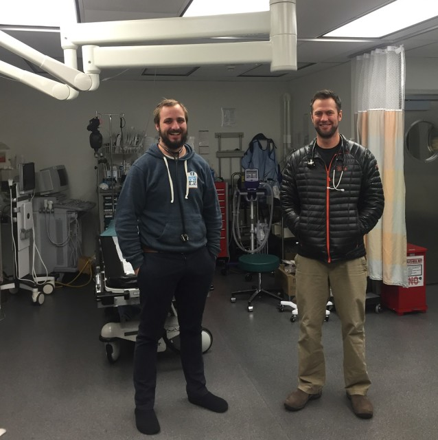 "Physician Hamish Wright and physician's assistant Scott Deacon  pose for a photo in the medical clinic, colloquially referred to as ""Club Med"". (Photo by Refael Klein)"
