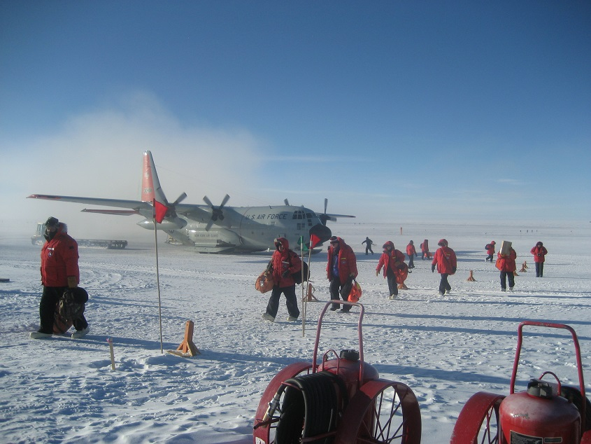 The DVs arrive. Distinguished visitors and a few other passengers disembark from their aircraft. Temperatures were warm and the winds were low, making it an ideal day for a visit to Pole.