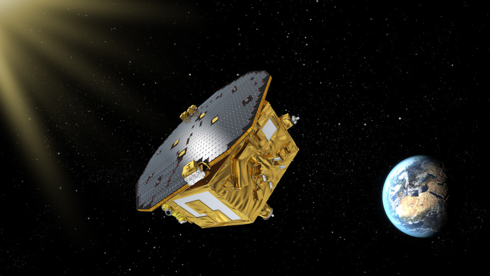 Artist's impression of LISA Pathfinder, ESA's mission to test technology for future gravitational-wave observatories in space. ((c) ESA-C. Carreau)