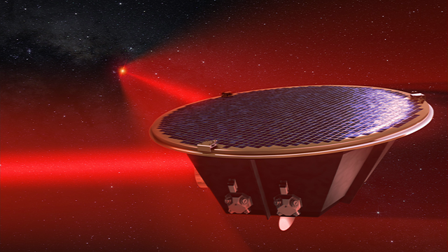 LISA will comprise three satellites, linked by lasers across five million km of space, to track very slight spacetime distortion caused by gravitational waves ((c) AEI/MildeMarketing/Exozet)