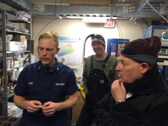 After visits to the geographic and ceremonial Poles, I spent an hour showing the DVs around the Atmospheric Research Observatory.  Here I am (left) explaining the inner workings of our gas chromatograph.