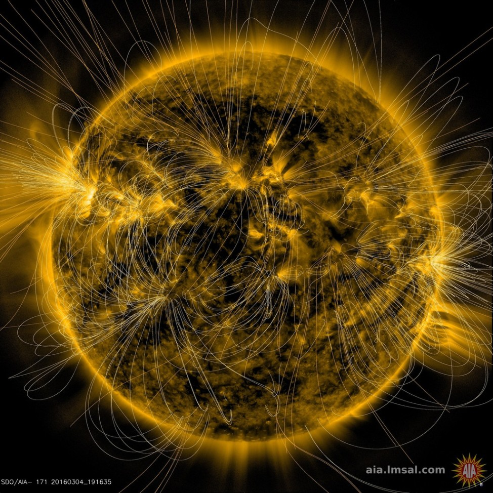 The illustration maps the magnetic field lines coming from the Sun. Their interactions are superimposed on an extreme ultraviolet image captured by NASA's Solar Dynamics Observatory on March 12, 2016. (Solar Dynamics Observatory, NASA)