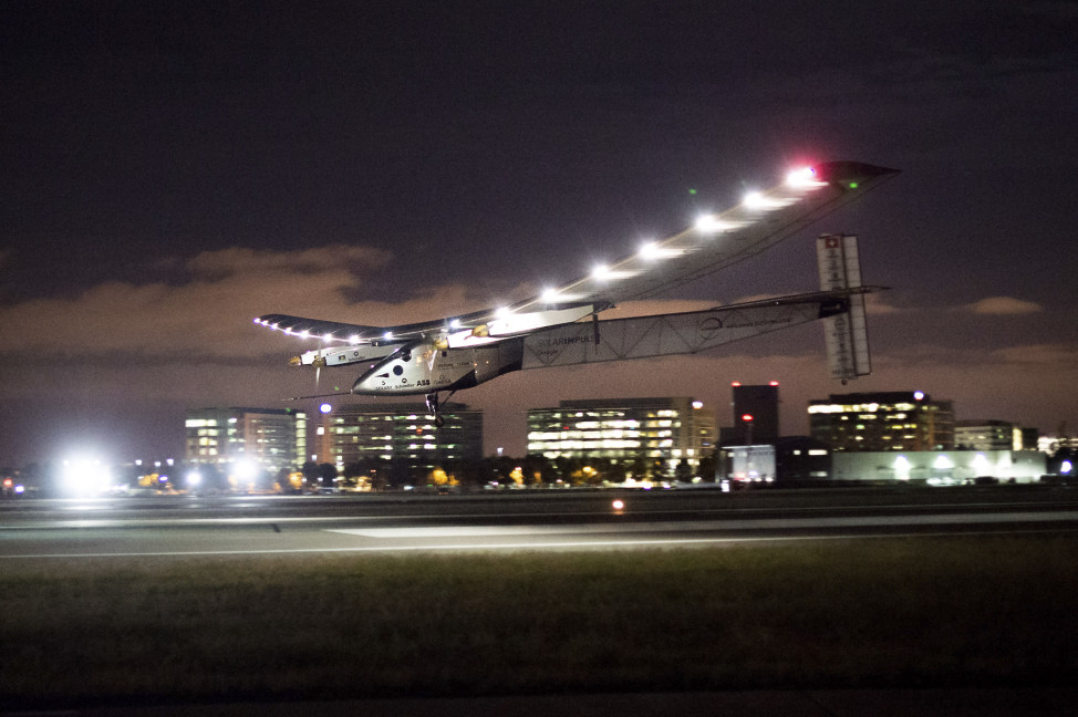 The sun powered Solar Impulse 2 is shown here as it lands at Moffett Field in Mountain View, California on 4/23/16. The solar plane had just completed a risky three day flight across Pacific Ocean from Hawaii as it continues its journey around the world. (AP)