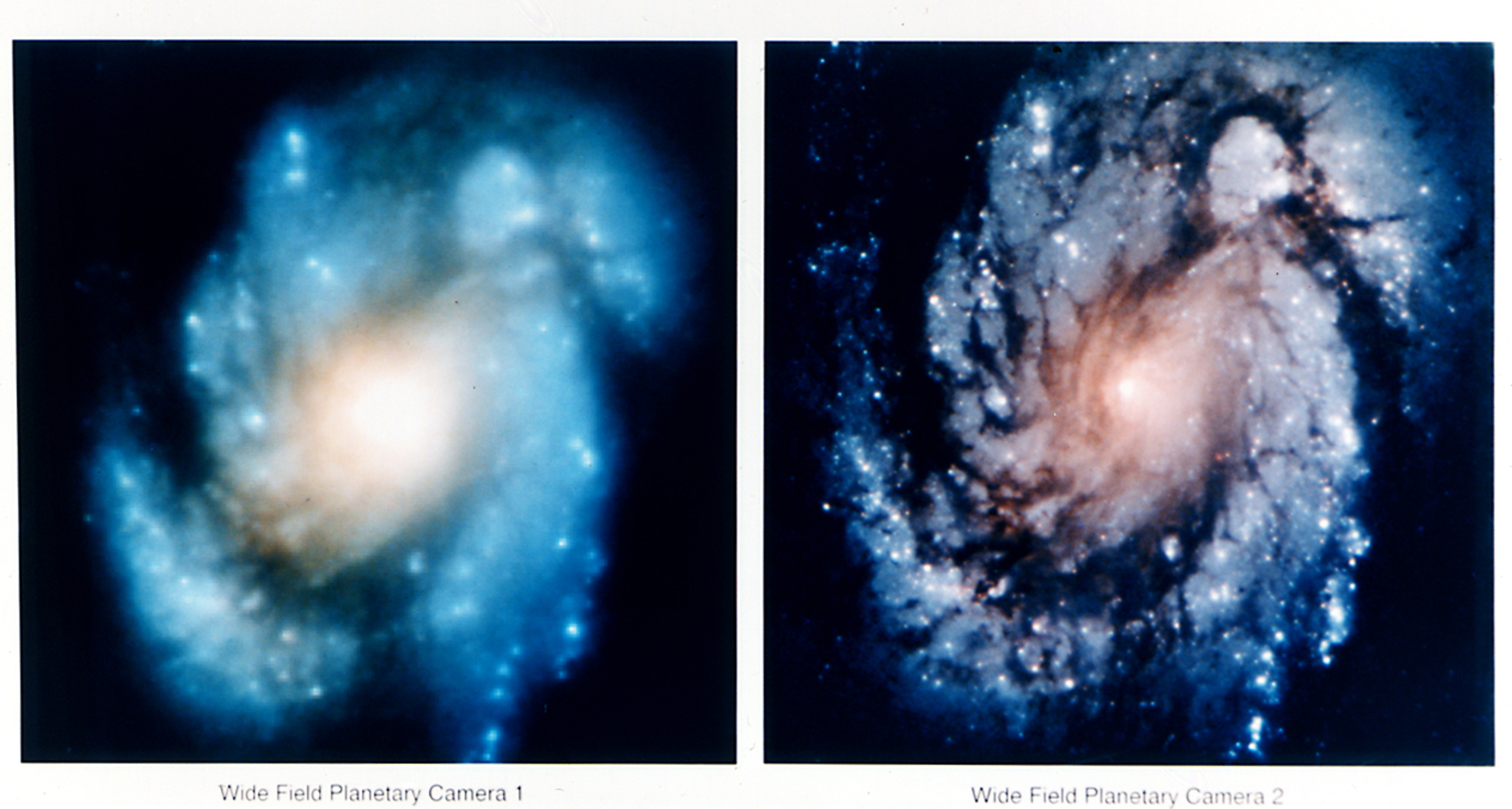 Happy 26th birthday hubble space telescope science world hubble images of galaxy messier 100 before optical correction left and after right ccuart Images