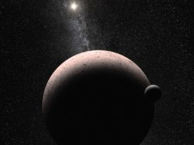 Artist concept of dwarf planet Makemake and its moon MK2 (NASA/ESA)