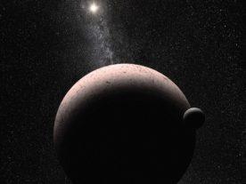 Artist concept of dwarf planet Makemake and its moon MK2 (NASA/ESA)