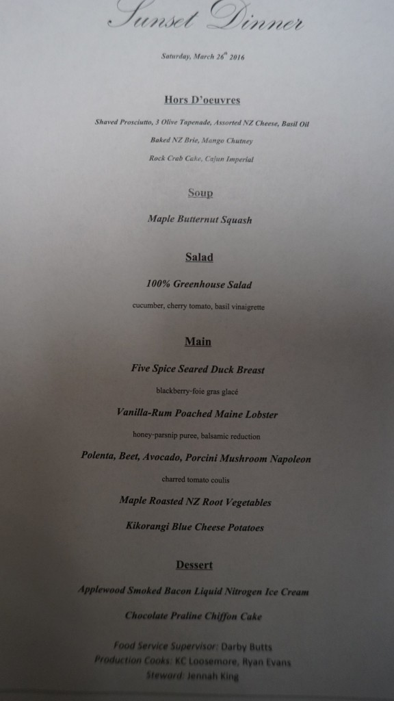 An elaborate menu executed perfectly by the talented galley crew.