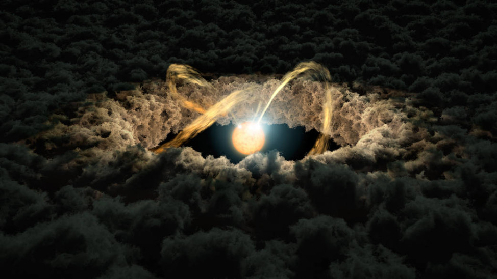 This is an artist's rendering of a star surrounded by a protoplanetary disk, which will eventually go on to form planets. The image, released on 4/26/16, shows material from the thick disk flowing along the star's magnetic field lines and being dropped onto its surface. (NASA/JPL-Caltech)