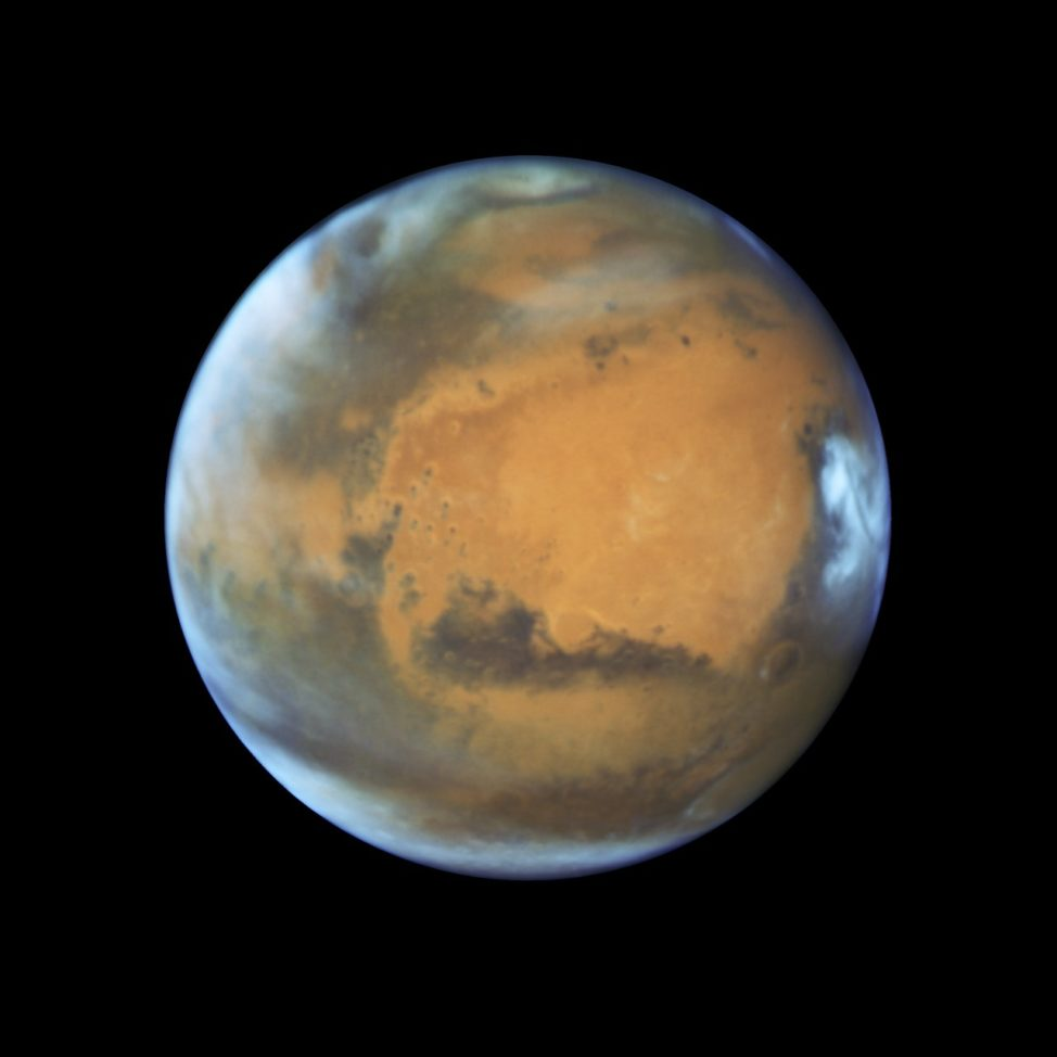 This image, captured by the Hubble Space Telescope, shows Mars, as it was observed On 5/12/16, before opposition in 2016 (NASA, ESA, the Hubble Heritage Team (STScI/AURA), J. Bell (ASU), and M. Wolff (Space Science Institute)