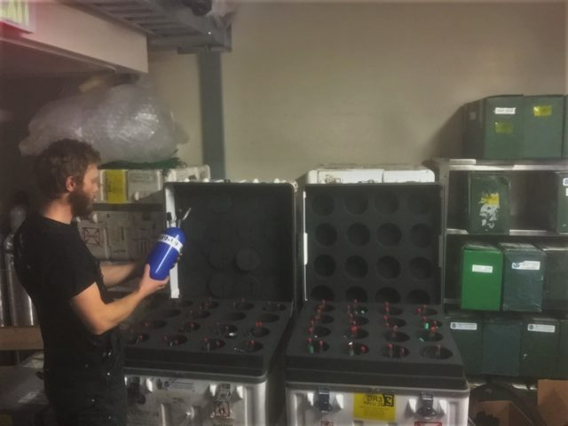 During the summer months air sample are sent back to their corresponding research groups, and new, empty flasks arrive at ARO. Transit, to and from Antarctica can be tough on the equipment, and the occasional flask is cracked.