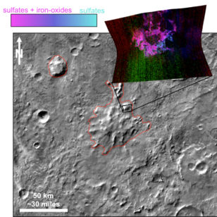 This graphic illustrates where Mars mineral-mapping from orbit has detected minerals that can indicate where a volcano erupted beneath an ice sheet. (NASA/JPL-Caltech/JHUAPL/ASU)