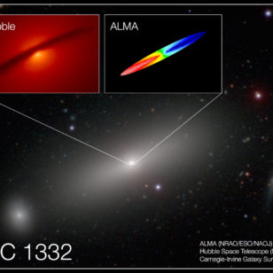 Combined image of NGC 1332 shows the central disk of gas surrounding the supermassive black hole at the center of the galaxy. (UC Irvine) ALMA (NRAO/ESO/NAOJ), NASA/ESA Hubble; Carnegie-Irvine Galaxy Survey)