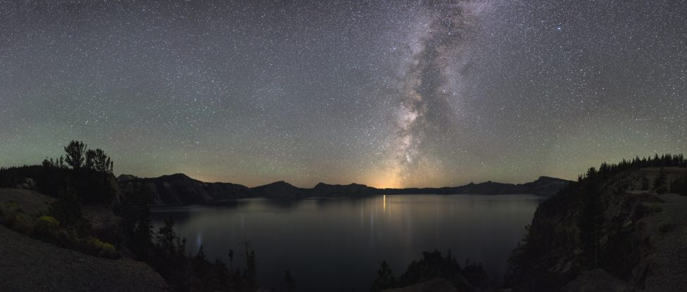 The Milky Way illuminates night sky over Crater Lake, Oregon. (NPS/Jeremy M. White)