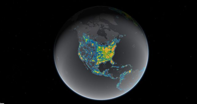 Light pollution now blots out the Milky Way for eight in 10 Americans. (Falchi et al, Science Advances; Jakob Grothe/National Park Service, Matthew Price/CIRES/CU-Boulder)
