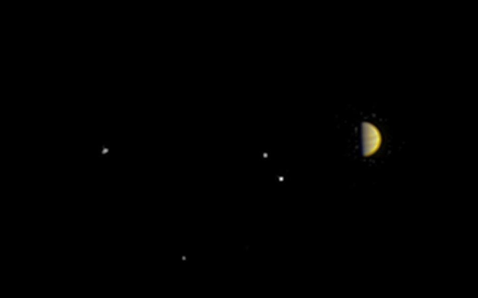 As it prepares for its 7/4/16 arrival at Jupiter, NASA's Juno spacecraft captured this color view on 6/21/16 from a distance of 10.9 million kilometers from the giant planet. Seen in this image with Jupiter are its four largest moons Io, Europa, Ganymede and Callisto. (NASA/JPL-Caltech/SwRI/MSSS)