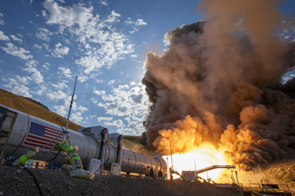 NASA and the aerospace company Orbital ATK fired up its Space Launch System's booster for its second and final test on 6/28/16 at Orbital ATK Propulsion Systems test facilities in Promontory, Utah. A pair of boosters such as this will provide 75 percent of thrust needed to escape the gravitational pull of the Earth, in NASA's planned Journey to Mars. (NASA/Bill Ingalls)