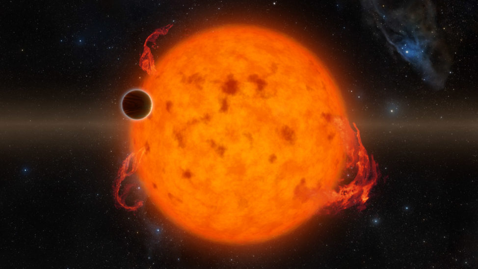 On 6/20/16 a team of Caltech-led researchers have discovered the youngest fully-formed exoplanet ever detected. The planet, K2-33b, at 5 to 10 million years old, is still in its infancy. Here is an artist's conception of the newborn planet (dark spot) transiting its sun. (NASA/JPL-Caltech/R. Hurt)