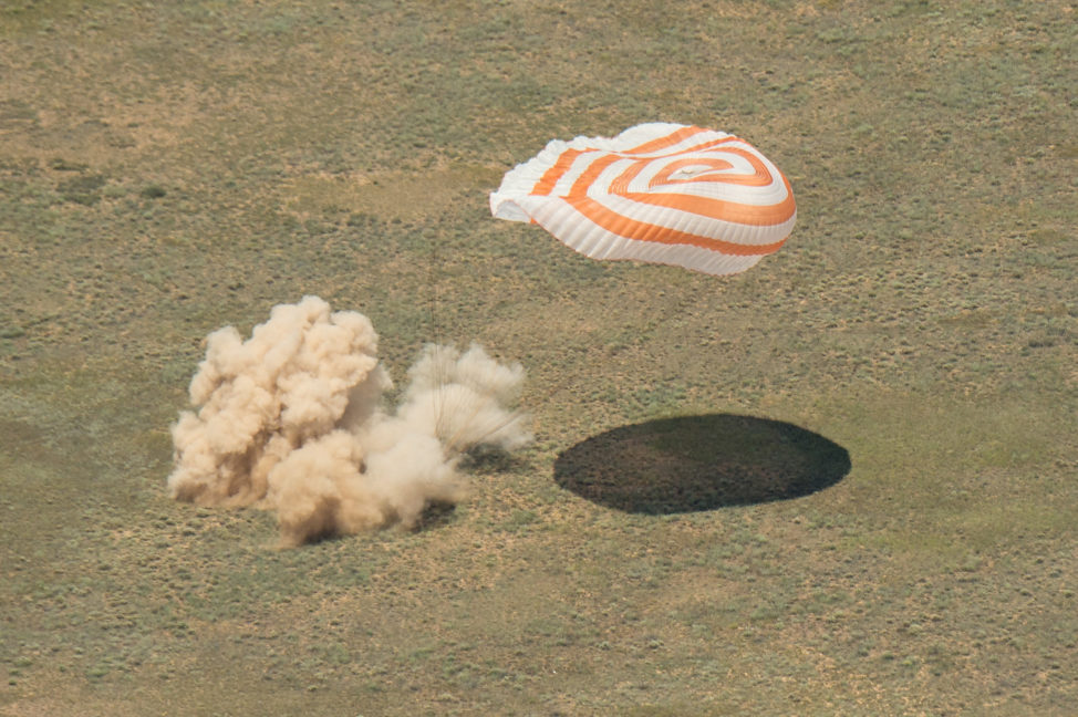 A Soyuz TMA-19M spacecraft carrying the returning NASA astronaut Tim Kopra, ESA astronaut Tim Peake, and commander Yuri Malenchenko lands in the steppe of Kazakhstan on 6/18/16. The trio spent 186 days on the International Space Station. (NASA/Bill Ingalls)