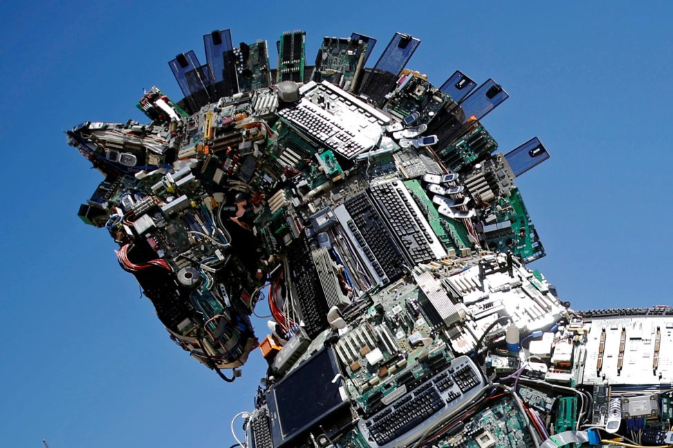 "This is a close-up of the head of a sculpture called ""Cyber Horse"" that was on display at the entrance to the annual Cyberweek conference at Tel Aviv University, Israel on June 20, 2016. ""Cyber Horse"" was made from thousands of infected computer and cell phone bits. (Reuters)"